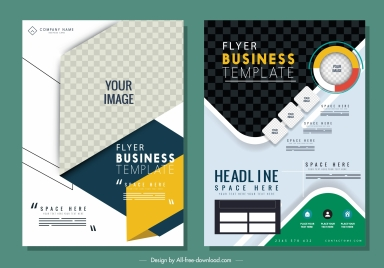 business flyer templates modern colorful design checkered decor