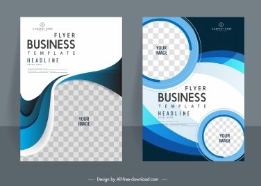 business flyer templates modern elegant checkered curves decor