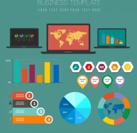 business graph design elements multicolored flat shapes