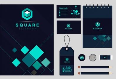 business identity sets dark green squares decor