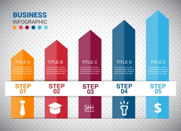 business infographic design with arrow columns chart