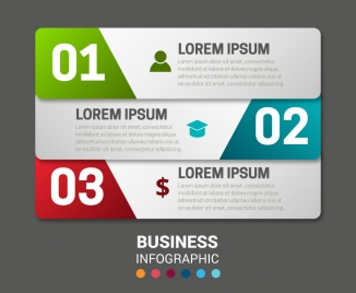 business infographic design with horizontal banners arrangement