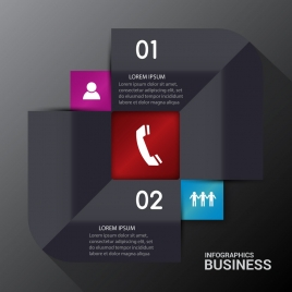 business infographic illustration with 3d black background
