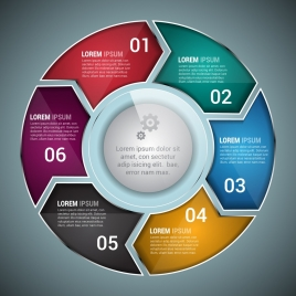 business infographic template colorful shiny circles decoration