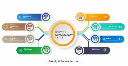 business infographic template modern circles horizontal branch chart