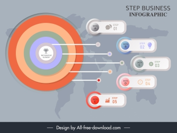 business infographic template modern target circle horizontal tags