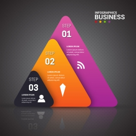 business infographic with colored triangles illustration