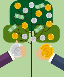 business investment concept tree icon metallic coins decoration