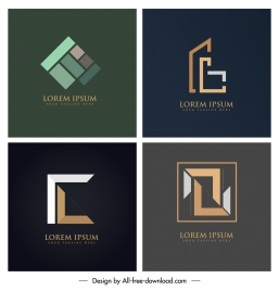 business logo templates colored modern flat geometric design