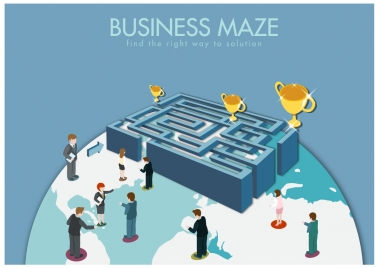 business maze concept with human looking for cups