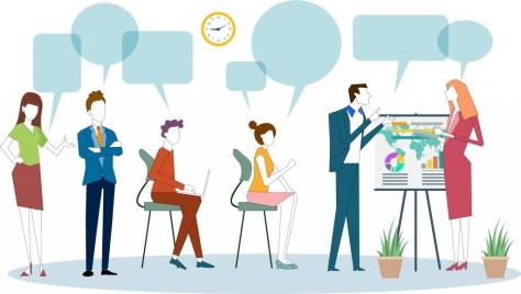 business meeting background staffs speech bubbles cartoon sketch