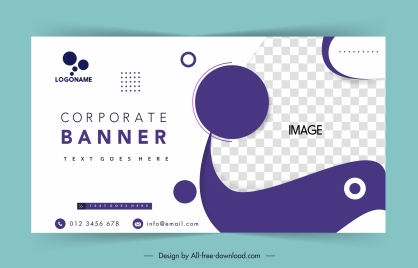 business poster template bright checkered curves circles decor