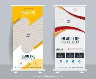 business poster templates elegant modern colorful standee shape