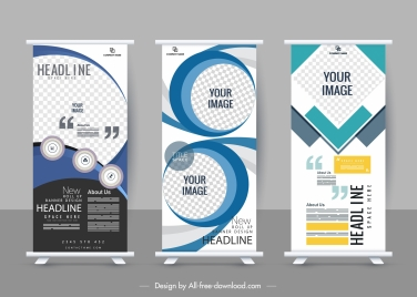 business poster templates modern checkered decor standee shape