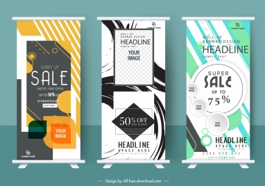business posters templates modern abstract decor vertical roll