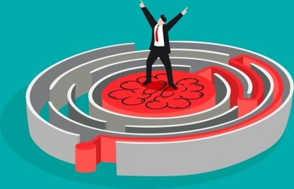 business problem background businessman maze icons 3d design
