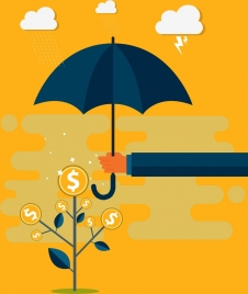 business protection background coins tree umbrella weather elements