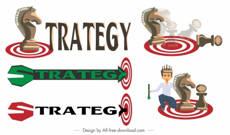 business strategy templates texts shapes chess pieces sketch