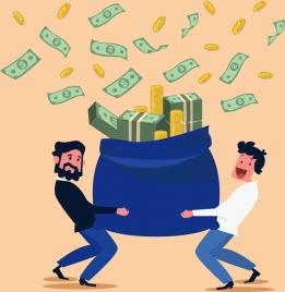 business success concept background men sack money icons