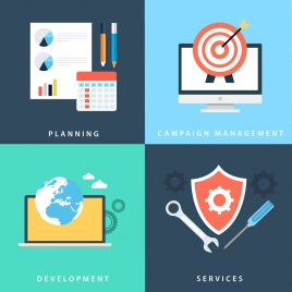 business success concepts with various elements illustration