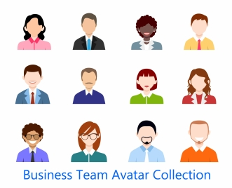business team avatar collection design in colored flat