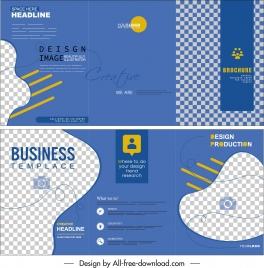 business trifold brochure template modern blue checkered decor