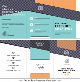 business trifold brochure template modern colored checkered decor