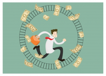 businessman vector illustration with running man and money