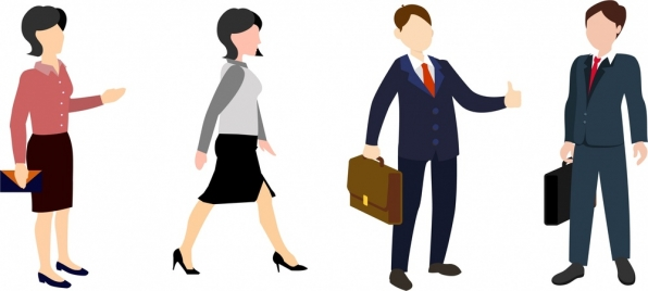 businessmen and women icons collection in formal clothes