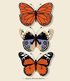 butterflies icons colored flat sketch symmetric decor