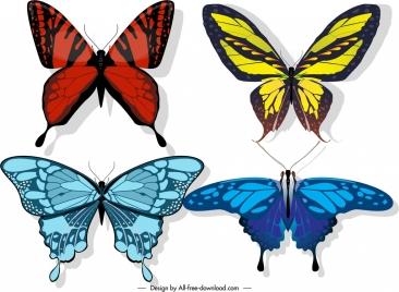 butterflies icons colors blend decor