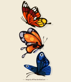 butterflies icons dynamic flying sketch colorful design