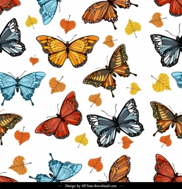 butterflies pattern colorful design leaves decor
