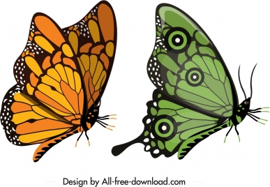 butterfly icons yellow green sketch