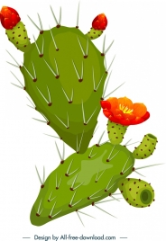 cactus icon colorful 3d thorns decor