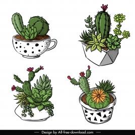 cactus pot icons classic 3d handdrawn sketch
