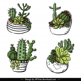 cactus pot icons classic handdrawn sketch