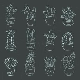 cactus pots icons dark design handdrawn decoration
