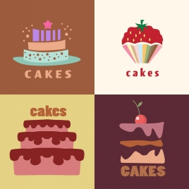 cake background sets various colorful objects decoration