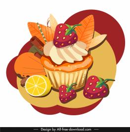 cake dessert icon colorful classical handdrawn sketch