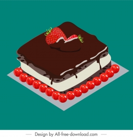 cake painting chocolate fruity cream decor 3d sketch