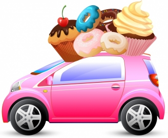 cakes advertisement car transportation icon colorful decoration
