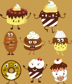 cakes icons collection cute stylized design