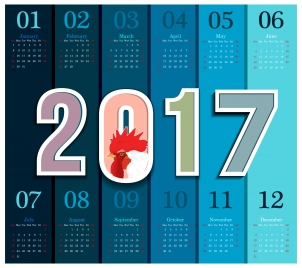 calendar 2017 design with cock and vertical style