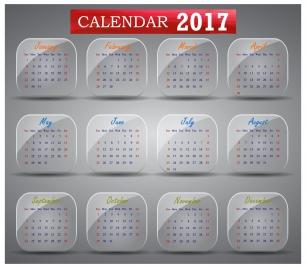 calendar 2017 design with months illustration on squares
