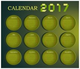 calendar 2017 design with months on circles