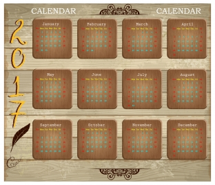 calendar 2017 design with wooden background