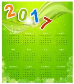 calendar 2017 templates green abstract background