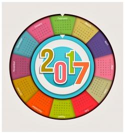 calendar 2017 templates pie chart