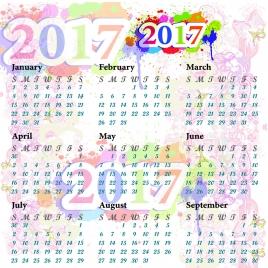 calendar colorful 2017